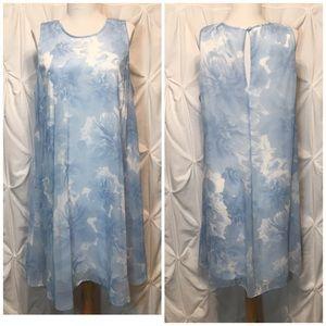 Calvin Klein floral watercolor swing dress size 14